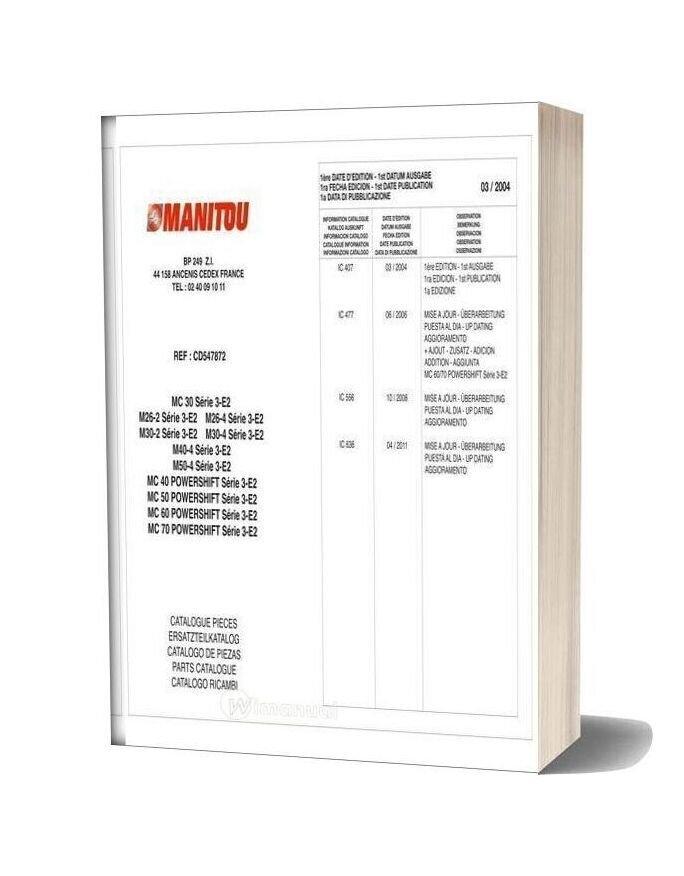 Manitou Mc30 70 M26 50 Parts Catalogue