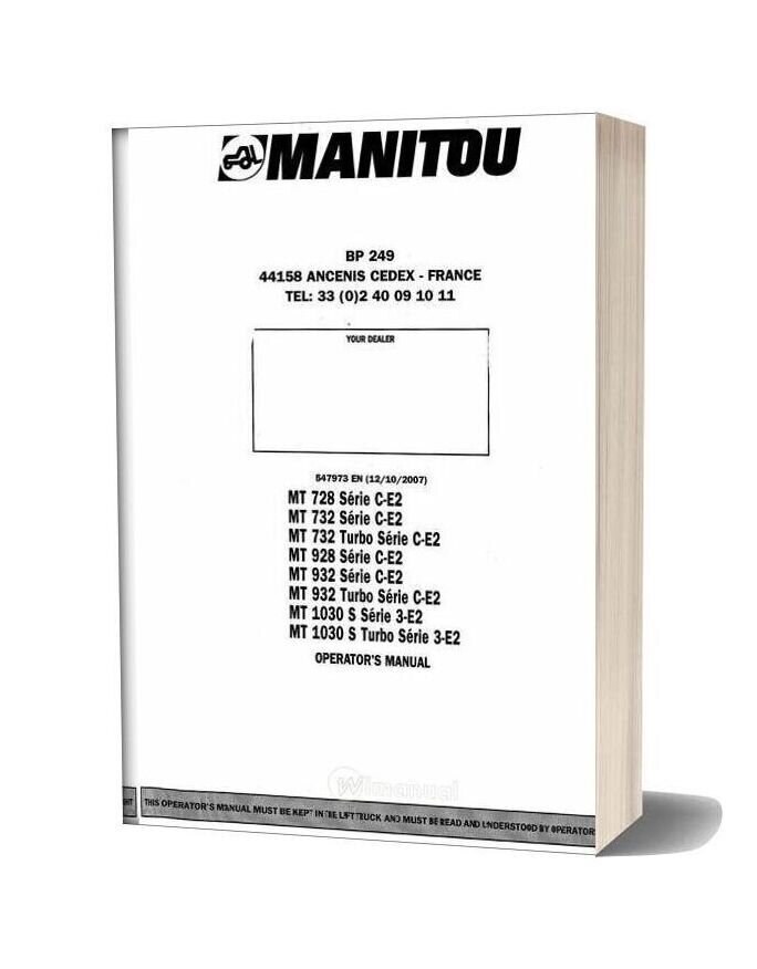 Manitou Mt728 To Mt1030 Operation Manual
