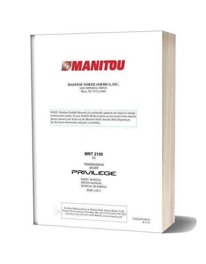 Manitou Telescopico Mrt2150 E3 Parts Manuals