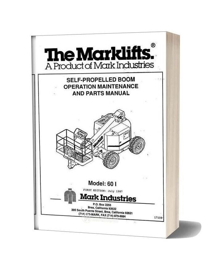 Marklift Self Propelled Boom Operation Maintenance And Parts Manual