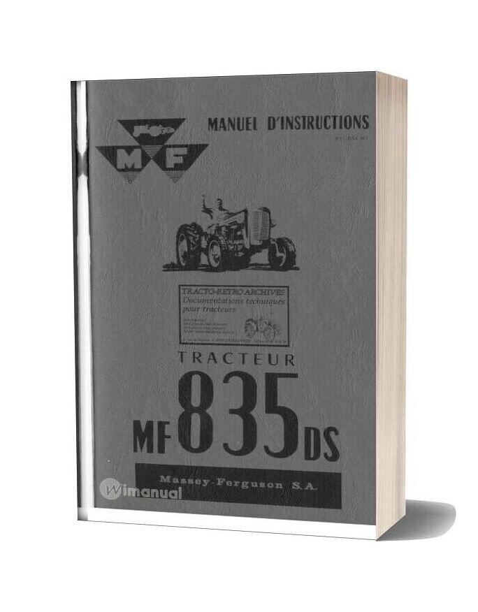 Massey Ferguson Mf 835 Manuel Instructions