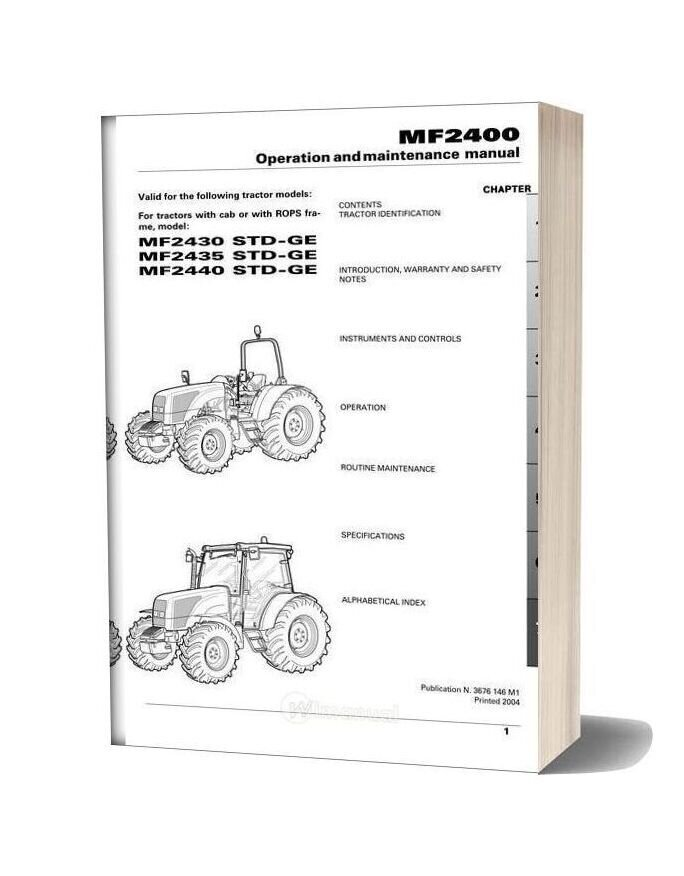 Massey Ferguson Mf2400 2006 Operation And Maintenance Manual