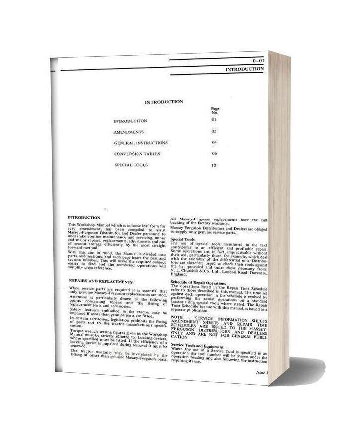 Massey Ferguson Tractor Mf135 Mf138 Service Manual