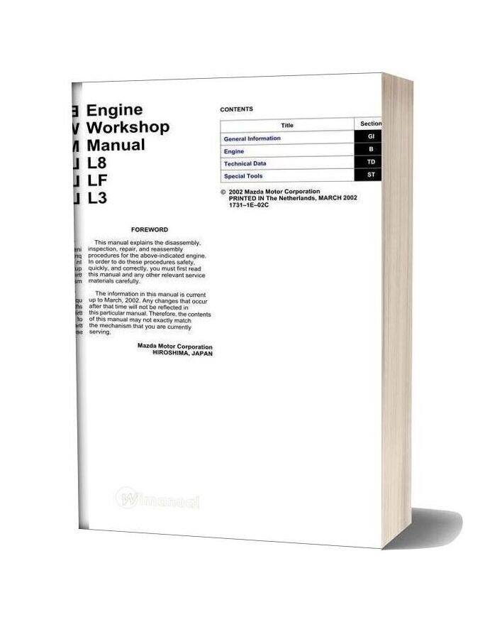 Mazda 2002 Engine L8 Lf L3 Workshop Manual