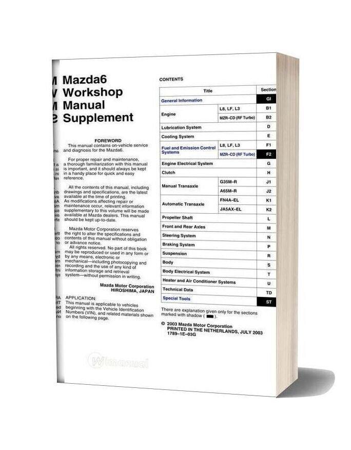 Mazda 6 Supplement 2003 Workshop Manual