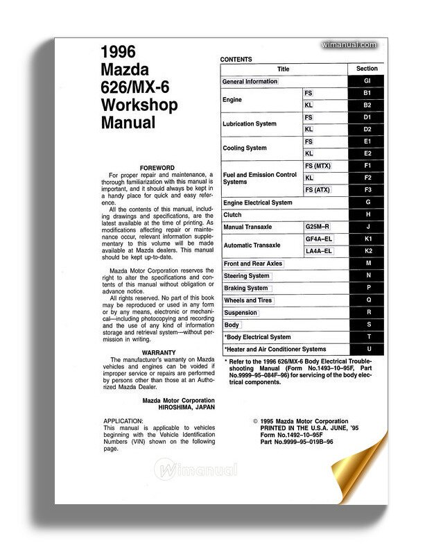 Mazda 626 Mx 6 Workshop Manual 1992 1997r En