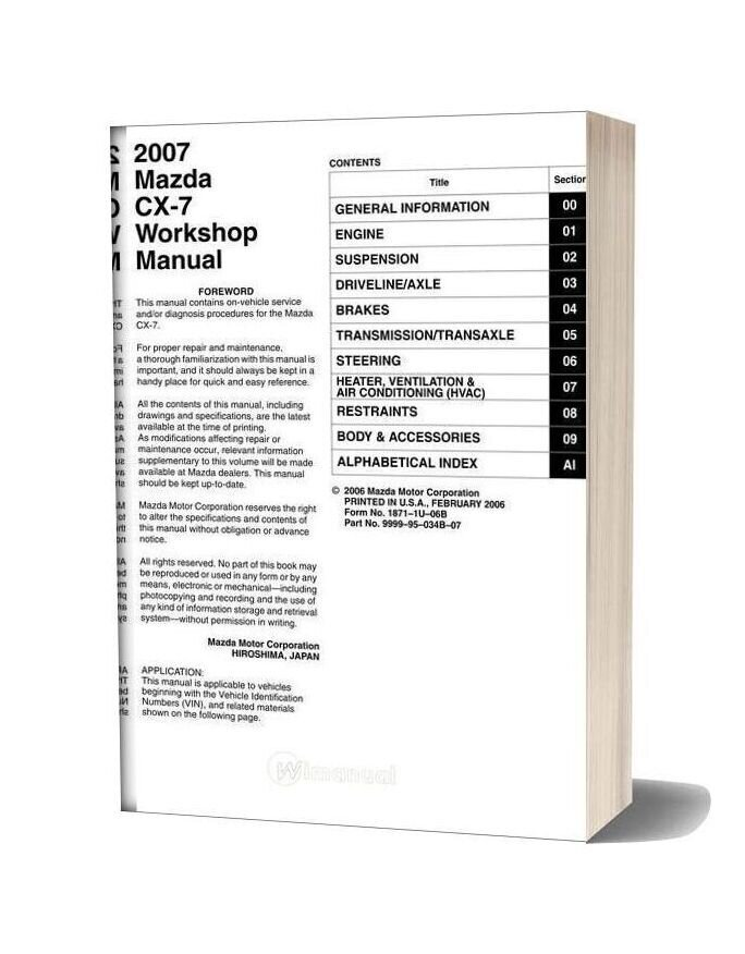 Mazda Cx7 2007 Workshop Manual