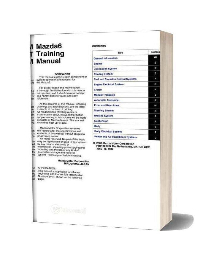 Mazda6 Training Manual