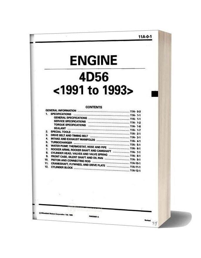 Mitsubishi Engine 4d56 1991 1993 Workshop Manual