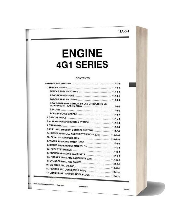 Mitsubishi Engine 4g1 Series Shop Manual