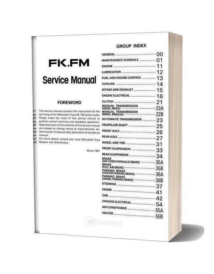 Mitsubishi Fuso 1992 95 Fkfm Service Manual