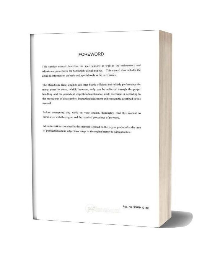 Mitsubishi Sl Sm Engine Service Manual