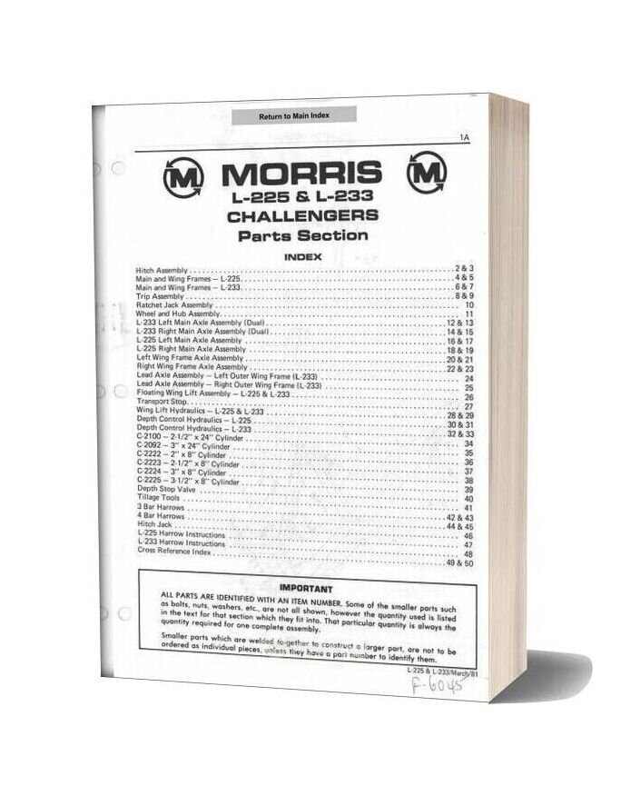 Morris L 225 & L 233 Challengers Parts Section