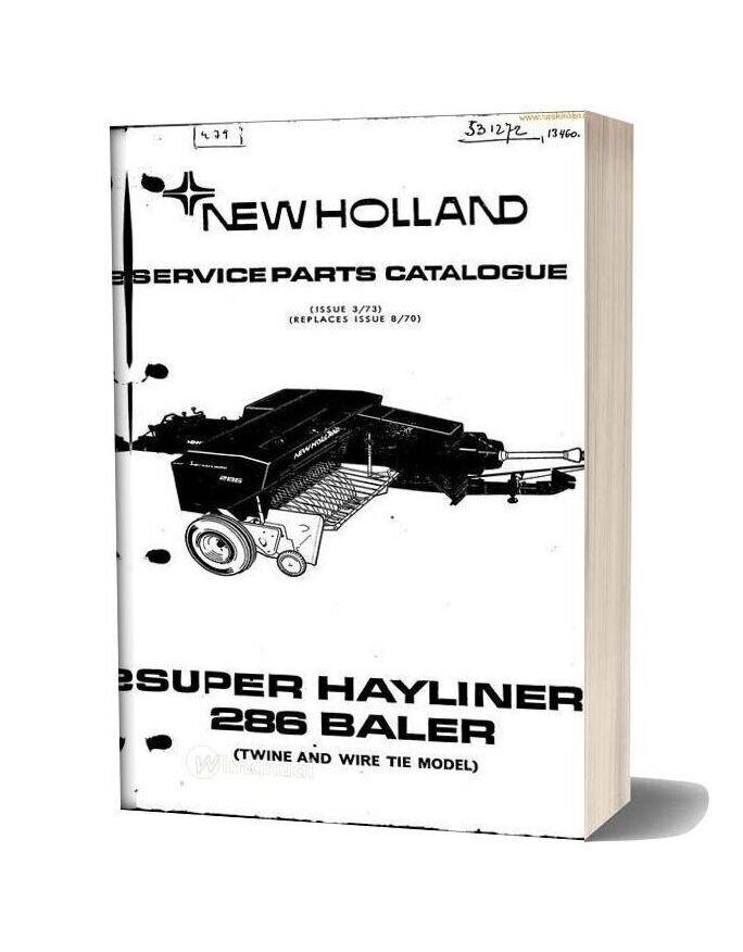 New Holland 286 Small Baler Parts Sec Wat