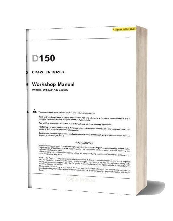 New Holland Crawler Dozer D150 En Service Manual