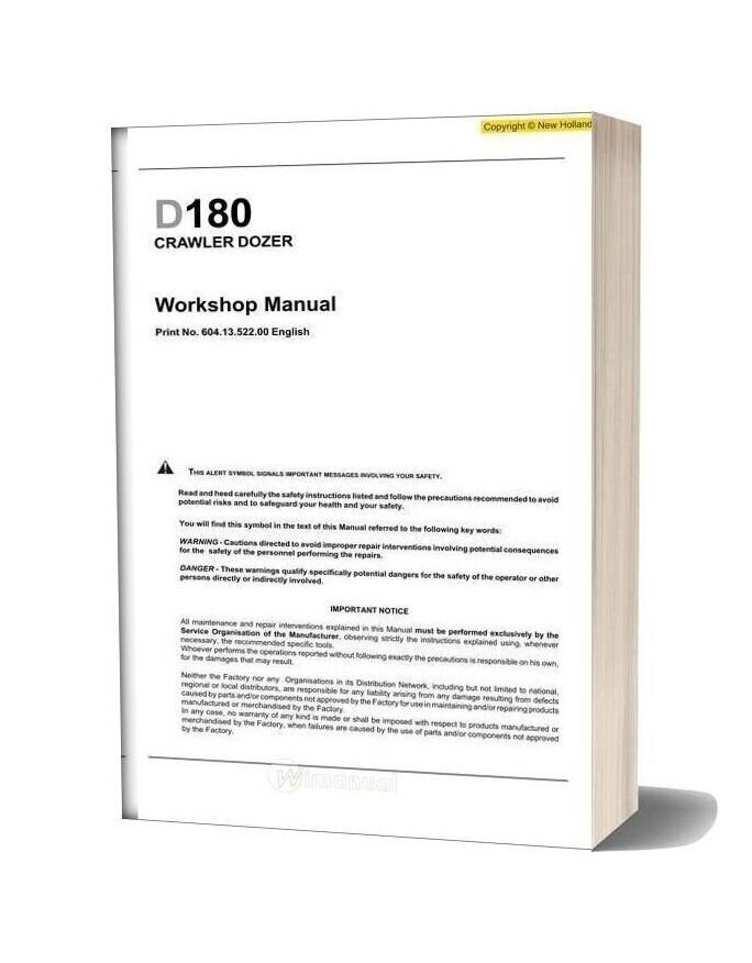 New Holland Crawler Dozer D180 En Service Manual