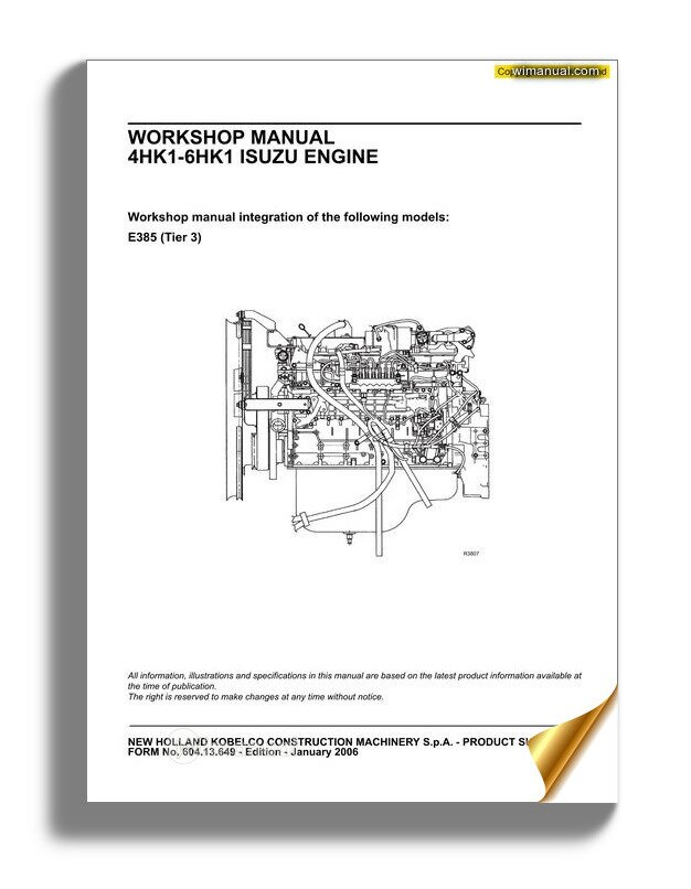 New Holland Engine 4hk1 6hk1 En Service Manual