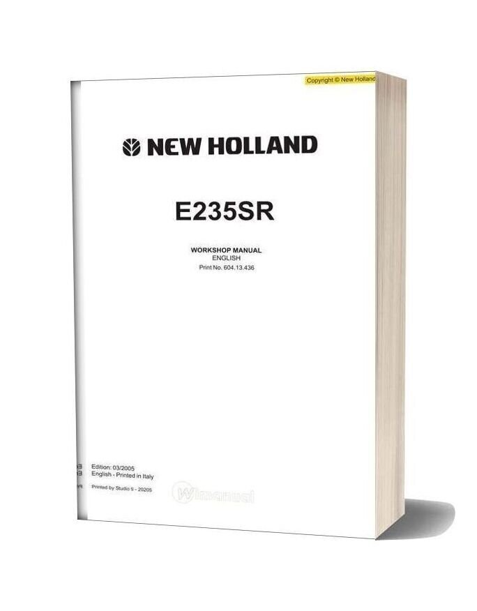 New Holland Excavator E235sr En Service Manual