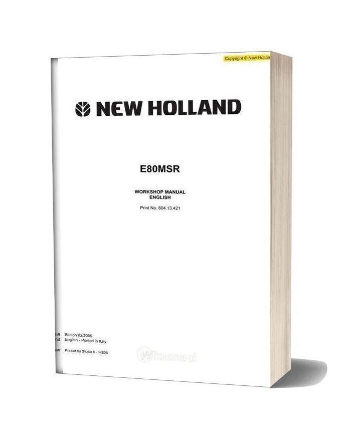 New Holland Excavator E80msr En Service Manual