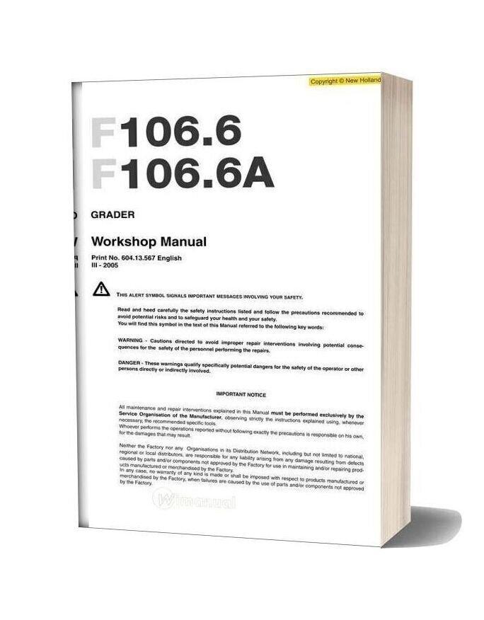 New Holland Grader F106 6 F106 6a En Service Manual