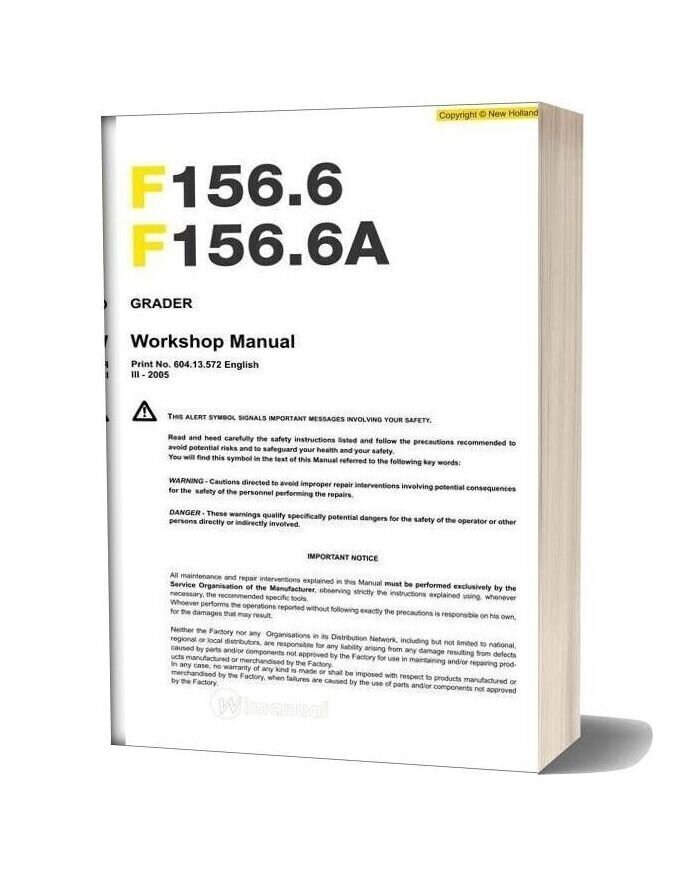 New Holland Grader F156 6 F156 6a En Service Manual