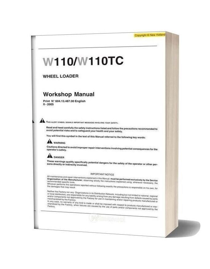 New Holland W110 W110tc Wheel Loader Workshop Manual