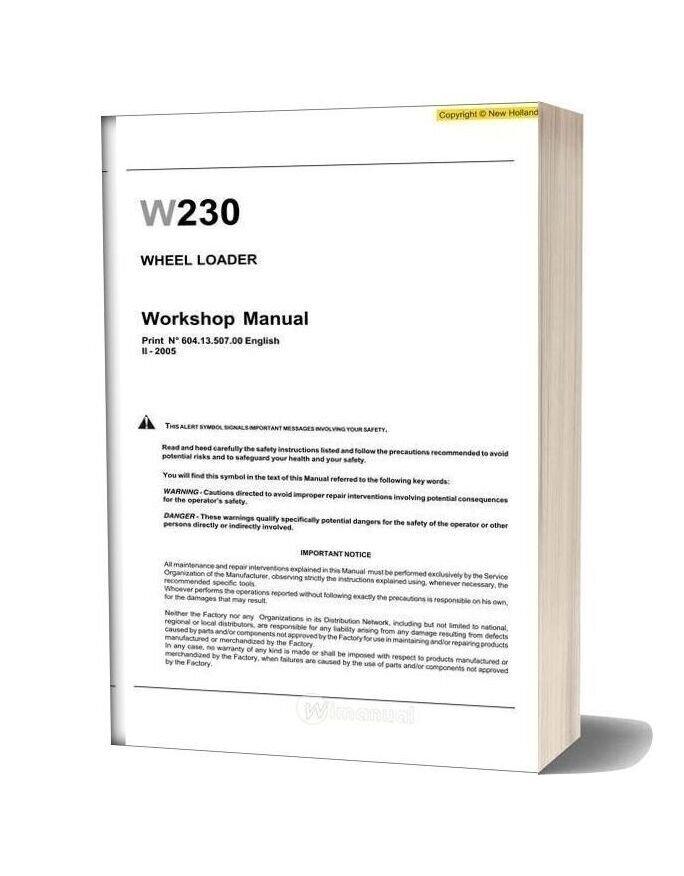 New Holland Wheel Loader W230 En Service Manual