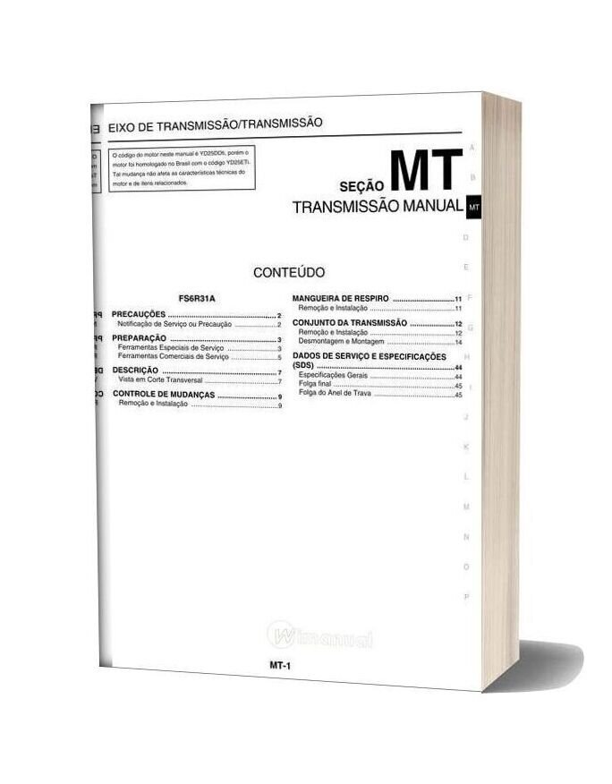 Nissan Frontier 2007 2009 In Portuguese Repair Manual Of The Manual Transmission