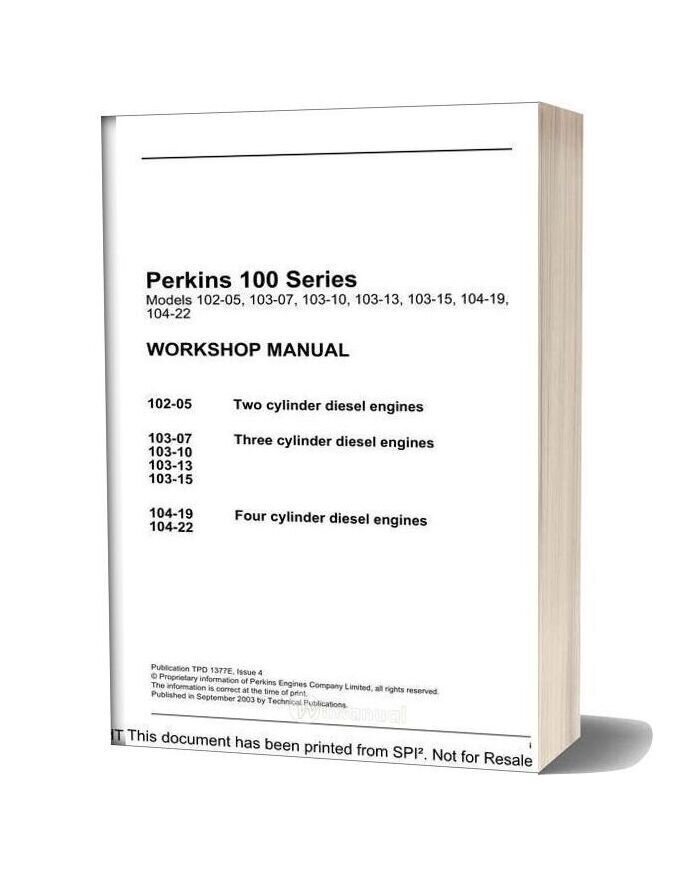 Perkins 100 Series Workshop Manual