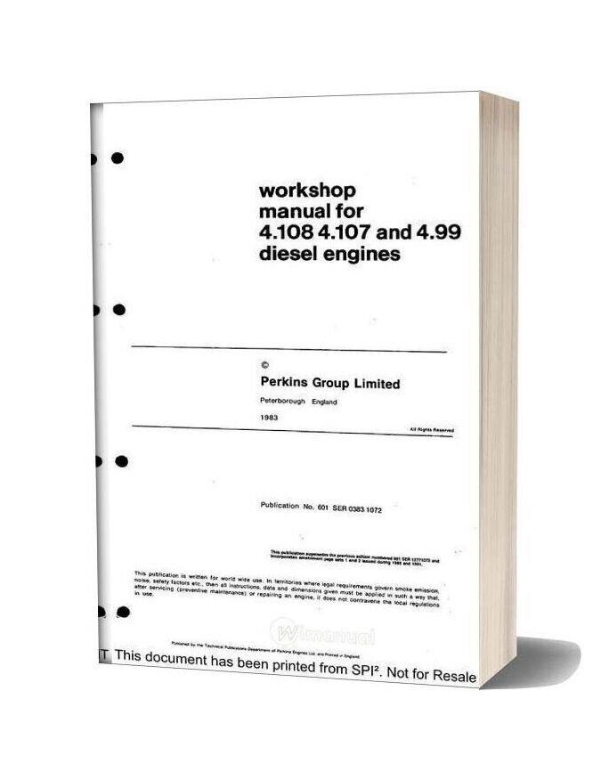 Perkins 4 108 Series Workshop Manual