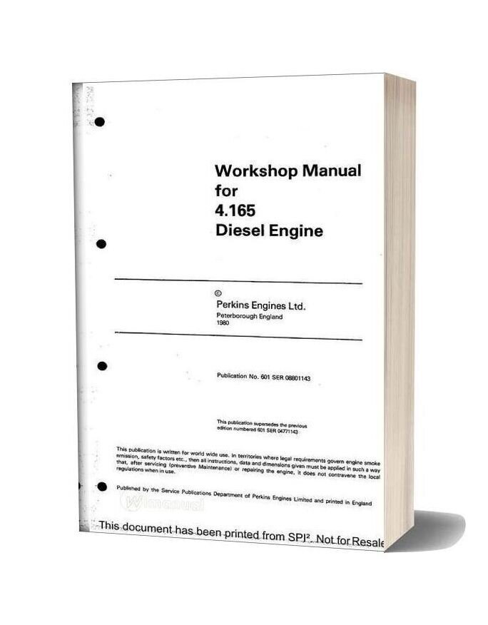 Perkins 4 165 Series Workshop Manual