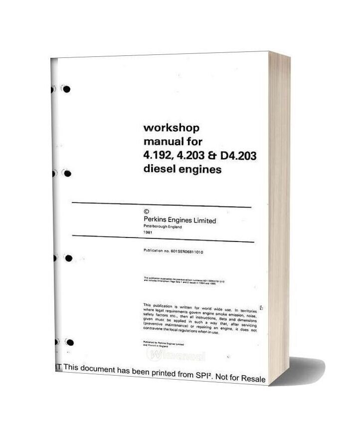 Perkins 4 192 Series Workshop Manual