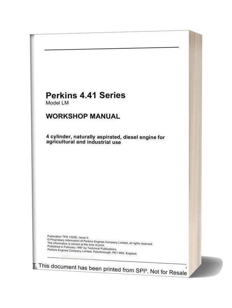 Perkins 4 41 Series Workshop Manual