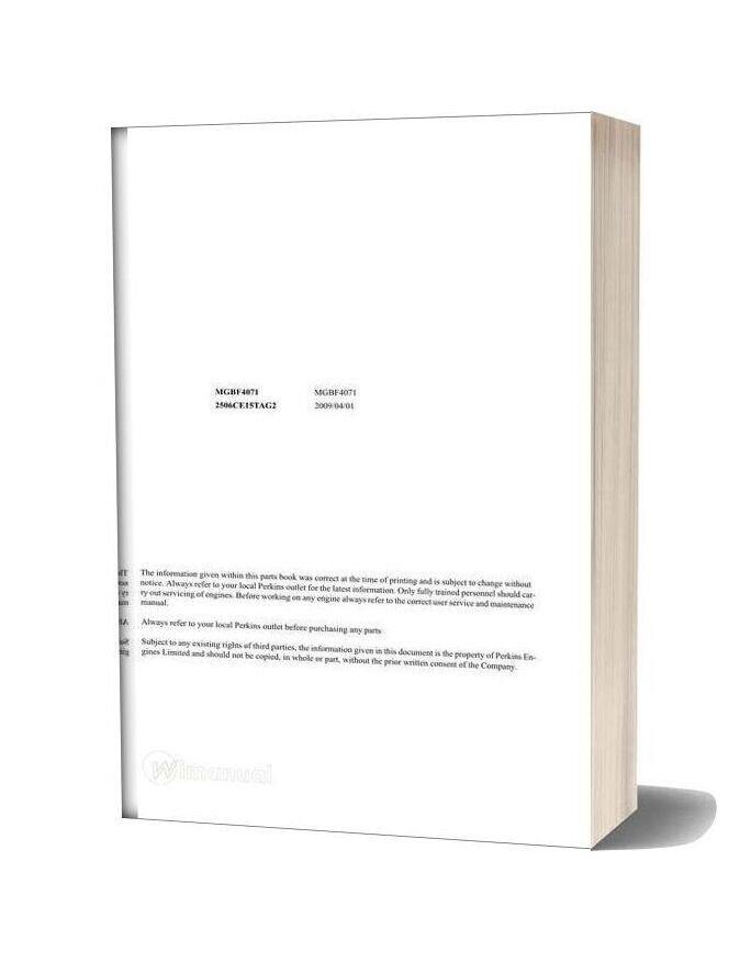 Perkins Mgbf4071 2506c Parts Manual