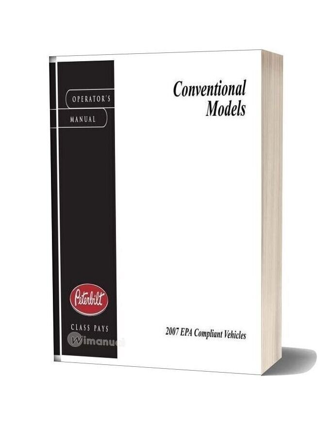 Peterbilt Conventional Trucks Operators Manual After 1 07 Supplemental