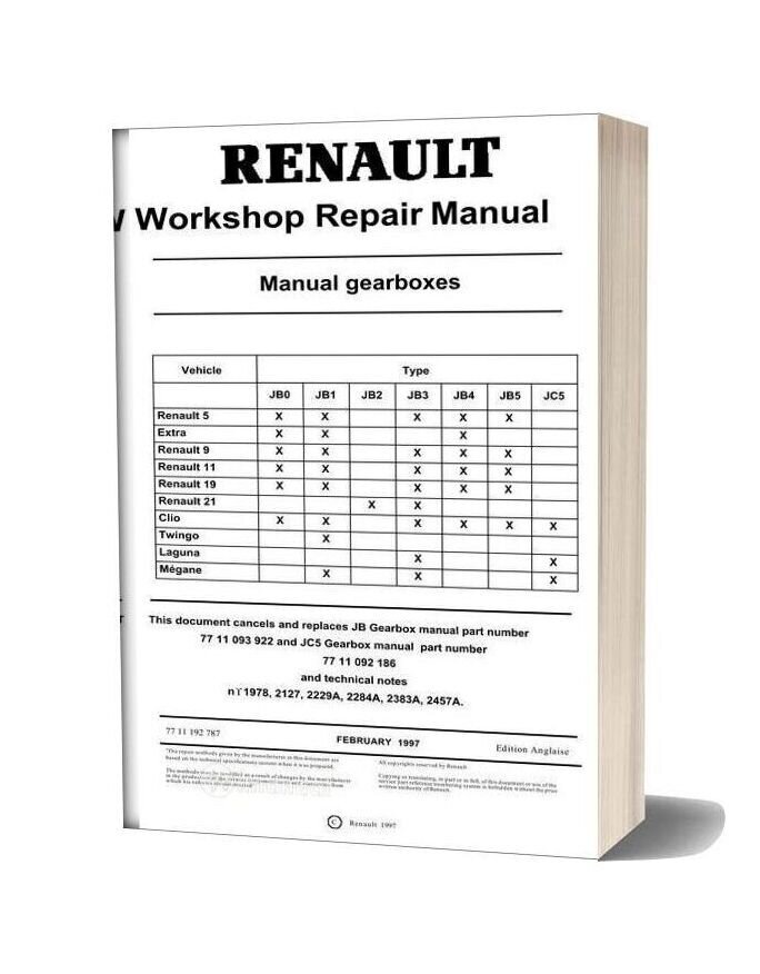Renault Workshop Repair Manual Gearbox