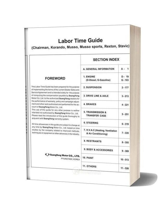 Ssangyong Labor Time Guide For Services
