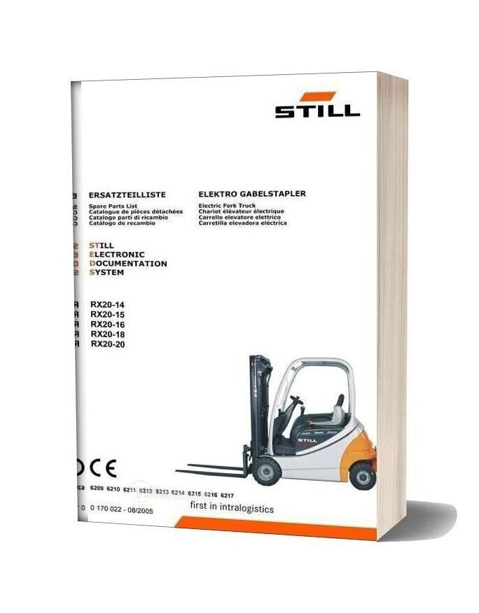 Still Steds Electric Fork Truck Rx20 14 Rx20 15 Rx20 16 Rx20 18 Parts Manual