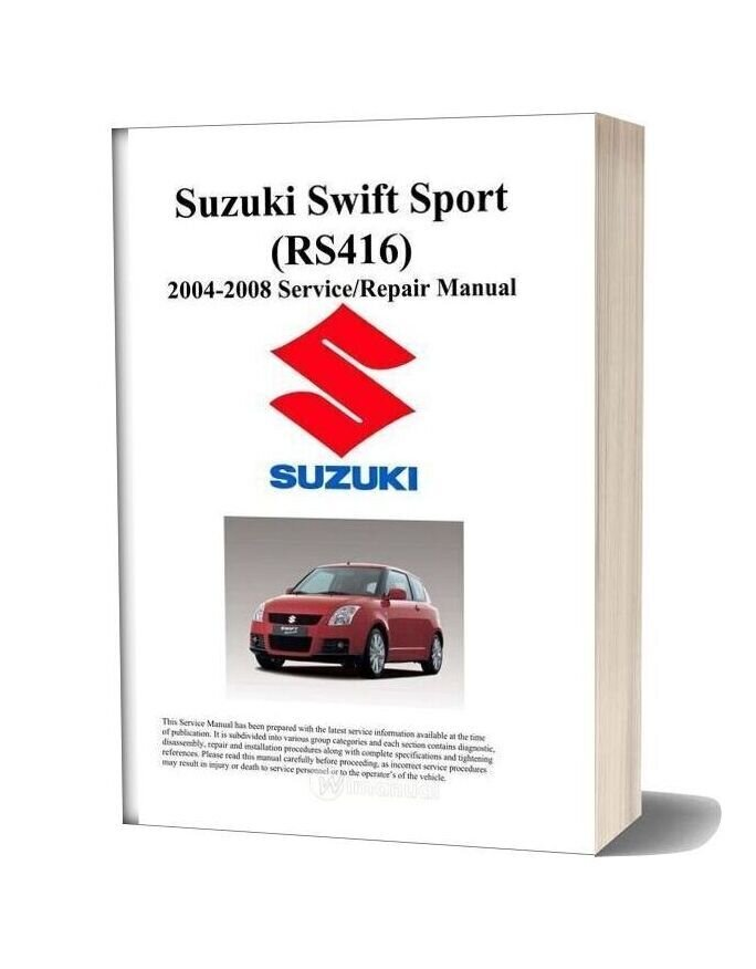Suzuki Swift Sport Workshop Manual Rs416