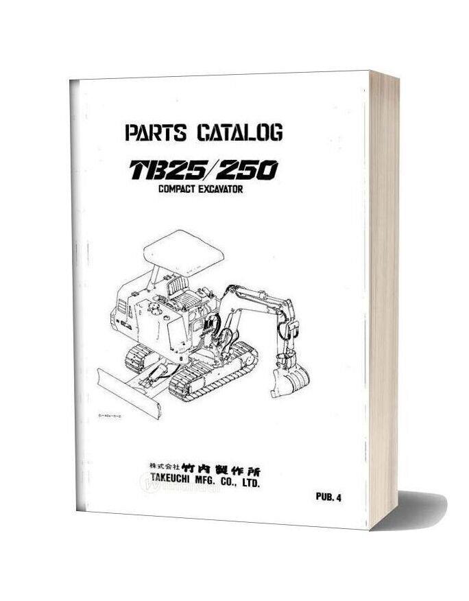 Takeuchi Compact Excavator Tb25 Parts Manual
