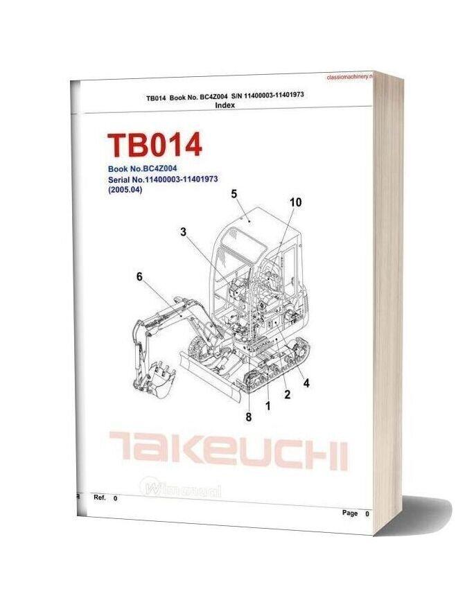 Takeuchi Tb014 And Tb016 Parts Manual