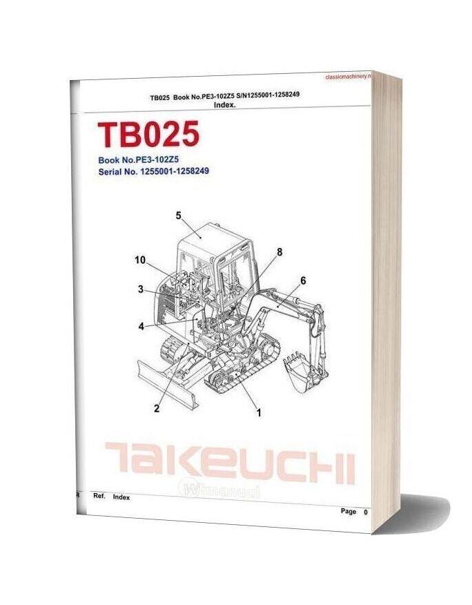 Takeuchi Tb025 Parts Catalog