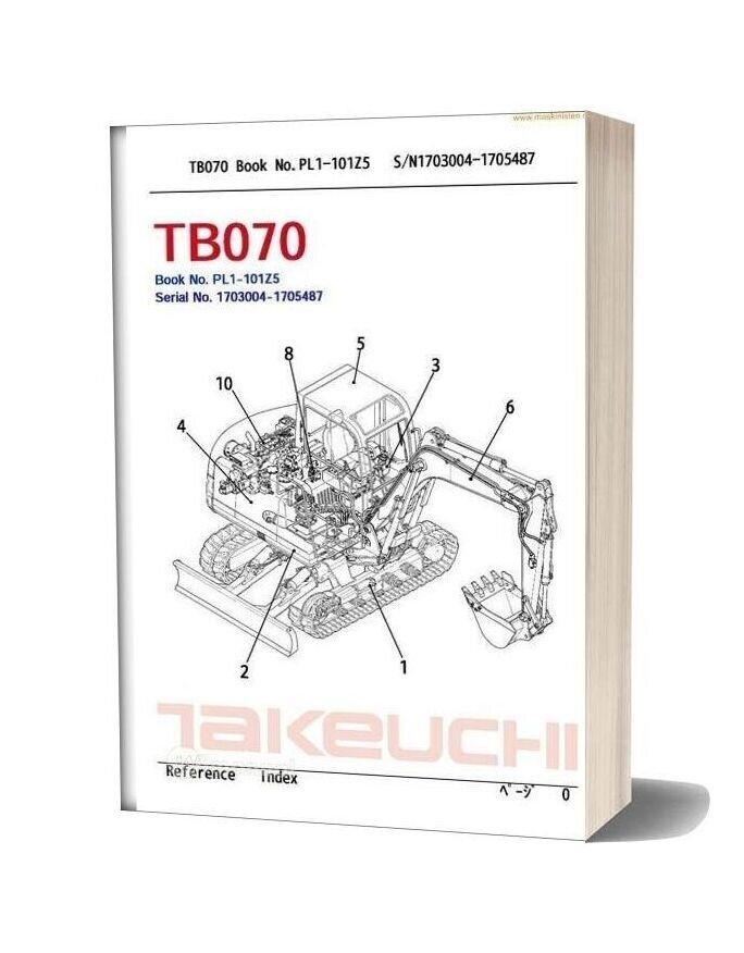 Takeuchi Tb070 Spareparts Sec Wat