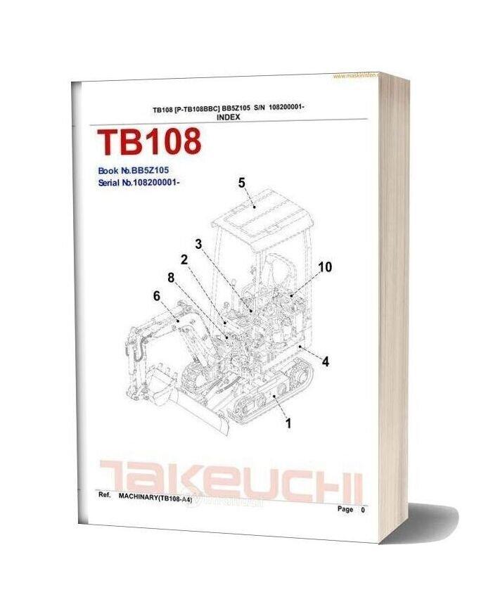 Takeuchi Tb108 Parts Sec Wat