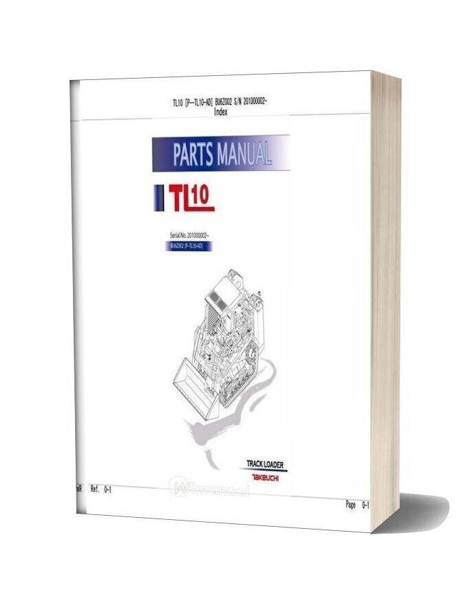 Takeuchi Track Loader P Tl10 Ad Parts Manual