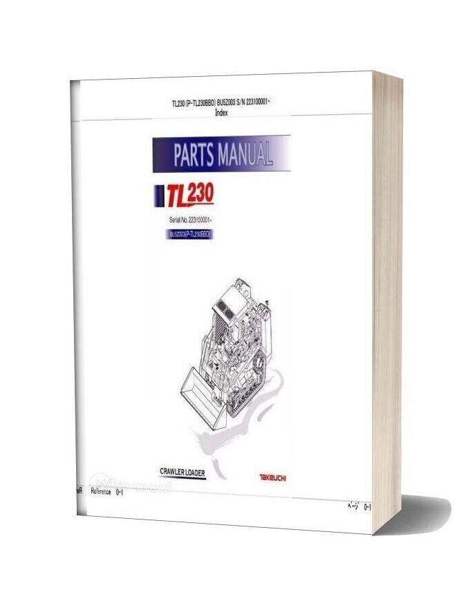 Takeuchi Track Loader P Tl230bbd Parts Manual
