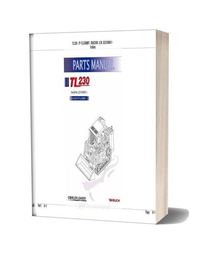 Takeuchi Track Loader P Tl230bbf 223100001 Parts Manual