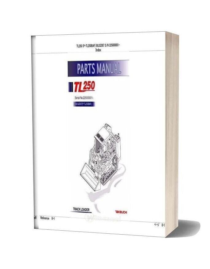 Takeuchi Track Loader P Tl250baf Parts Manual