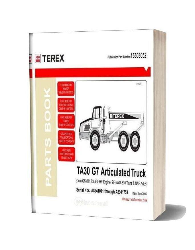 Terex A30 G7 Articulated Truck Parts Book