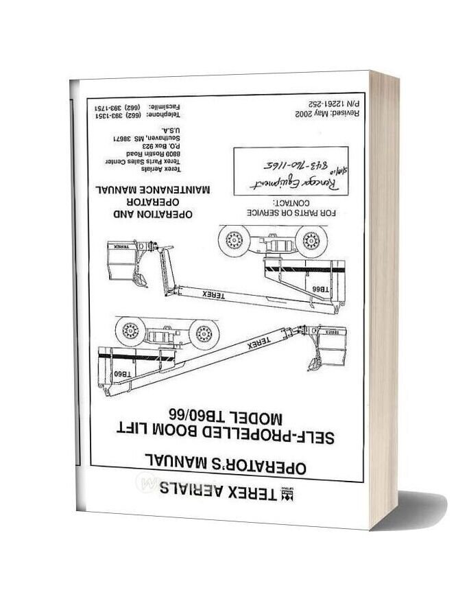 Terex Aerials Tb60 Operators Manual